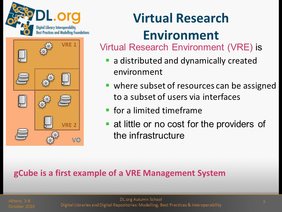Virtual Research Environment Virtual Research Environment (VRE) is  a distributed and dynamically created environment  where subset of resources can be assigned to a subset of users via interfaces  for a limited timeframe  at little or no cost for the providers of the infrastructure VRE 2 VRE 1 VO gCube is a first example of a VRE Management System DL.org Autumn School Digital Libraries and Digital Repositories: Modelling, Best Practices & Interoperability Athens, 3-8 October 2010 7