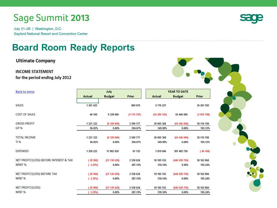 Board Room Ready Reports #SageSummit