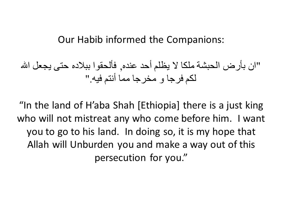 Our Habib informed the Companions: