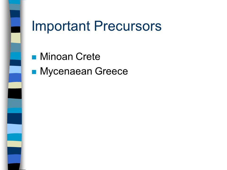 Important Precursors n Minoan Crete n Mycenaean Greece