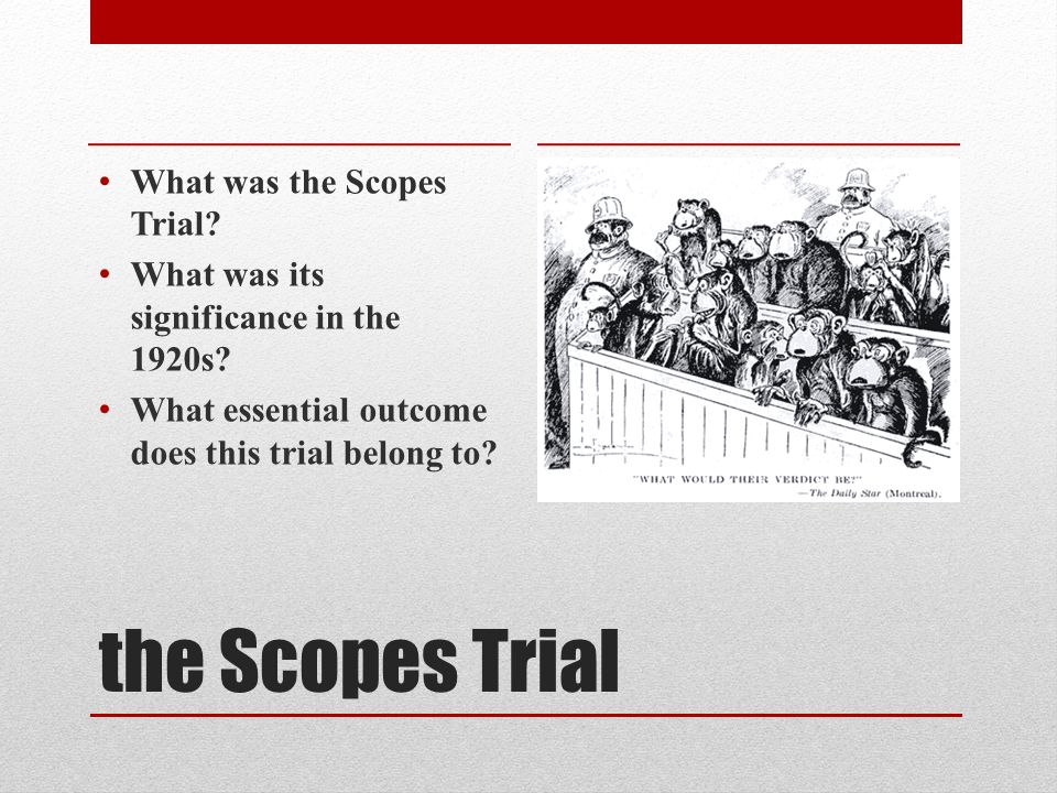 the Scopes Trial What was the Scopes Trial. What was its significance in the 1920s.