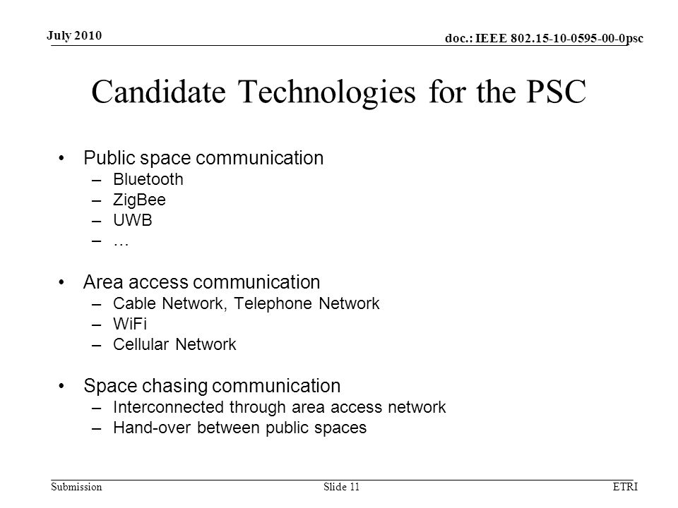 doc.: IEEE 802.15-10-0595-00-0psc Submission July 2010 Candidate Technologies for the PSC Public space communication –Bluetooth –ZigBee –UWB –… Area access communication –Cable Network, Telephone Network –WiFi –Cellular Network Space chasing communication –Interconnected through area access network –Hand-over between public spaces ETRISlide 11