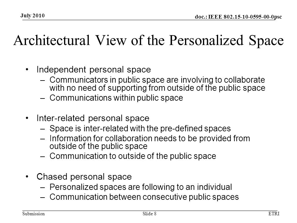 doc.: IEEE 802.15-10-0595-00-0psc Submission July 2010 Architectural View of the Personalized Space Independent personal space –Communicators in publi