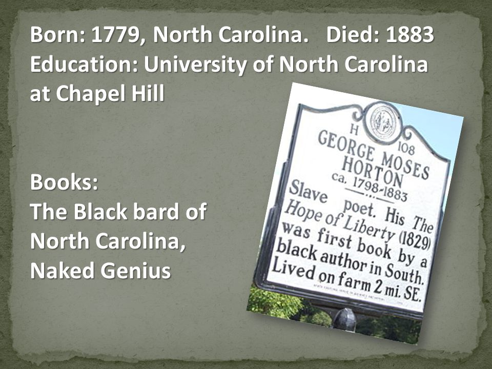 Born: 1779, North Carolina.