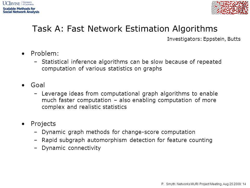 P. Smyth: Networks MURI Project Meeting, Aug 25 2009: 14 Task A: Fast Network Estimation Algorithms Problem: –Statistical inference algorithms can be