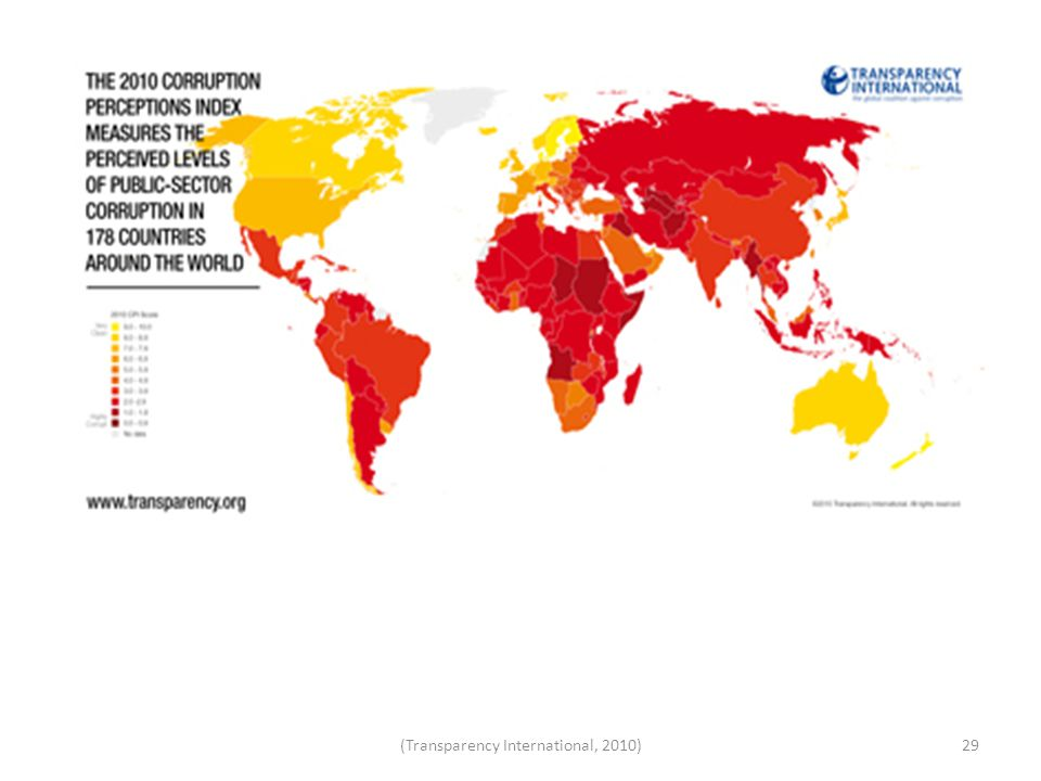 29(Transparency International, 2010) Corruption Perception Index 2010