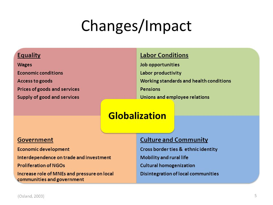 Changes/Impact Equality Wages Economic conditions Access to goods Prices of goods and services Supply of good and services Labor Conditions Job opportunities Labor productivity Working standards and health conditions Pensions Unions and employee relations Government Economic development Interdependence on trade and investment Proliferation of NGOs Increase role of MNEs and pressure on local communities and government Culture and Community Cross border ties & ethnic identity Mobility and rural life Cultural homogenization Disintegration of local communities Globalization (Osland, 2003) 5