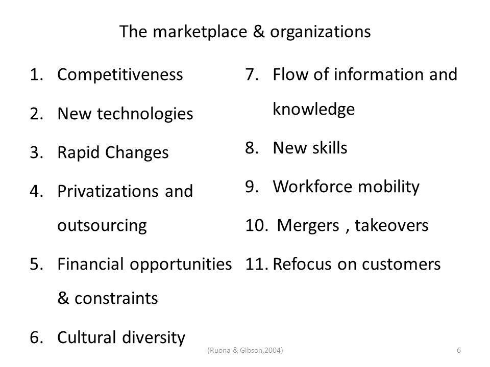 The marketplace & organizations 1.Competitiveness 2.New technologies 3.Rapid Changes 4.Privatizations and outsourcing 5.Financial opportunities & cons