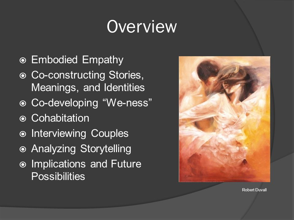 "Overview  Embodied Empathy  Co-constructing Stories, Meanings, and Identities  Co-developing ""We-ness""  Cohabitation  Interviewing Couples  Anal"