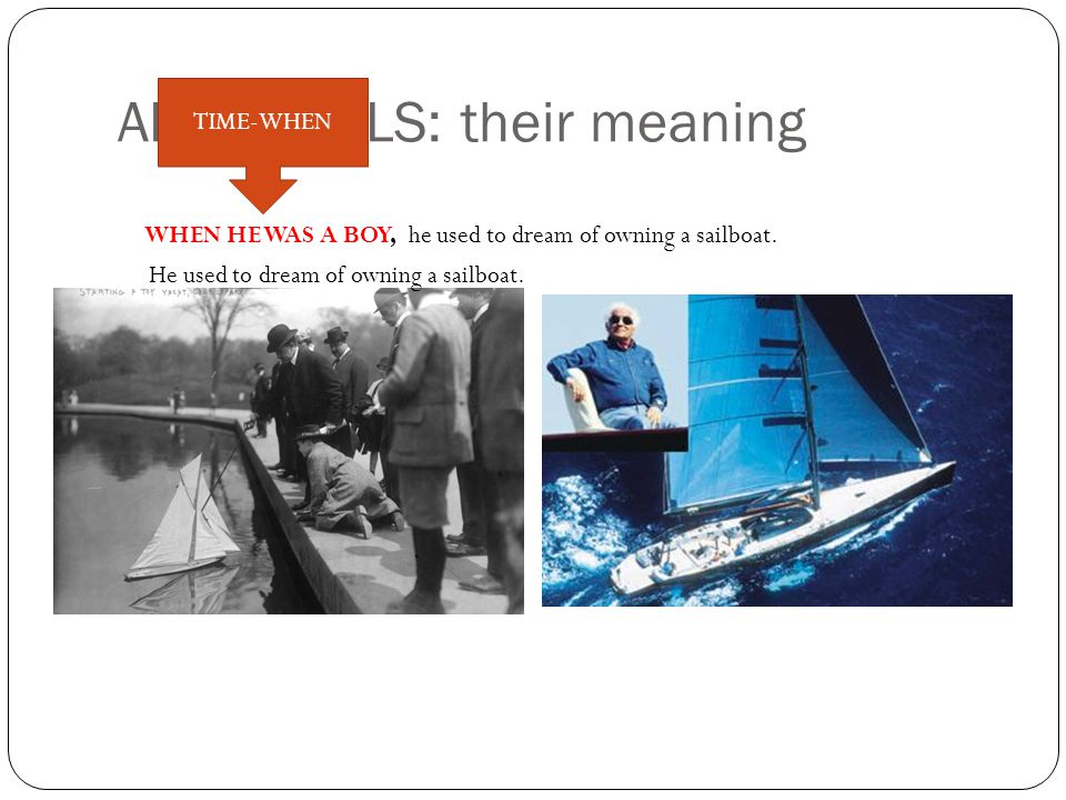 ADVERBIALS: their meaning WHEN HE WAS A BOY, he used to dream of owning a sailboat.