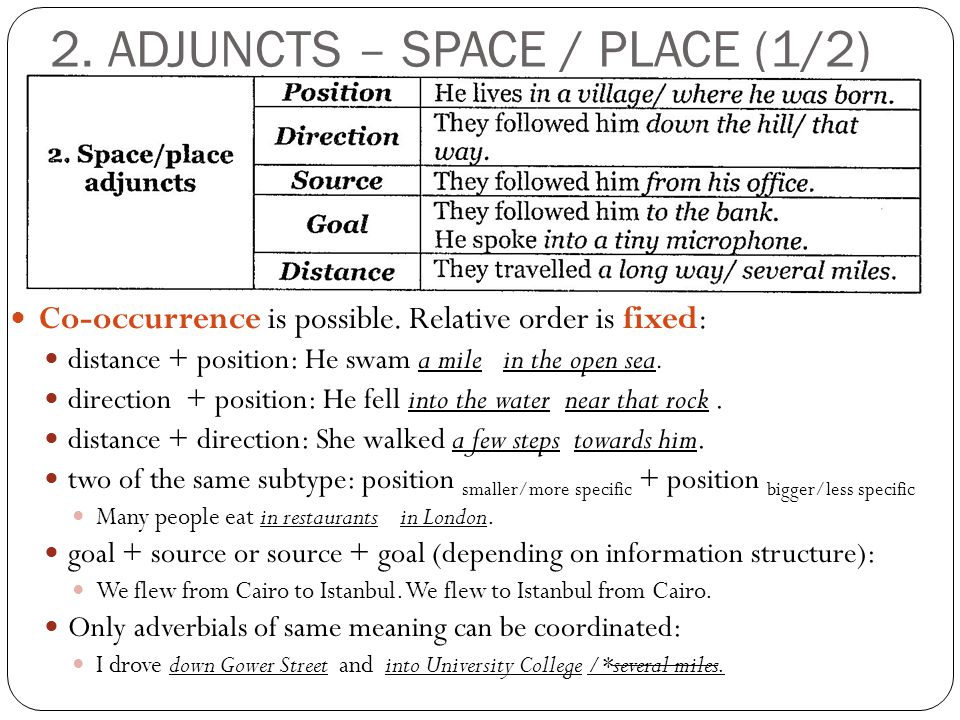 2. ADJUNCTS – SPACE / PLACE (1/2) Co-occurrence is possible.