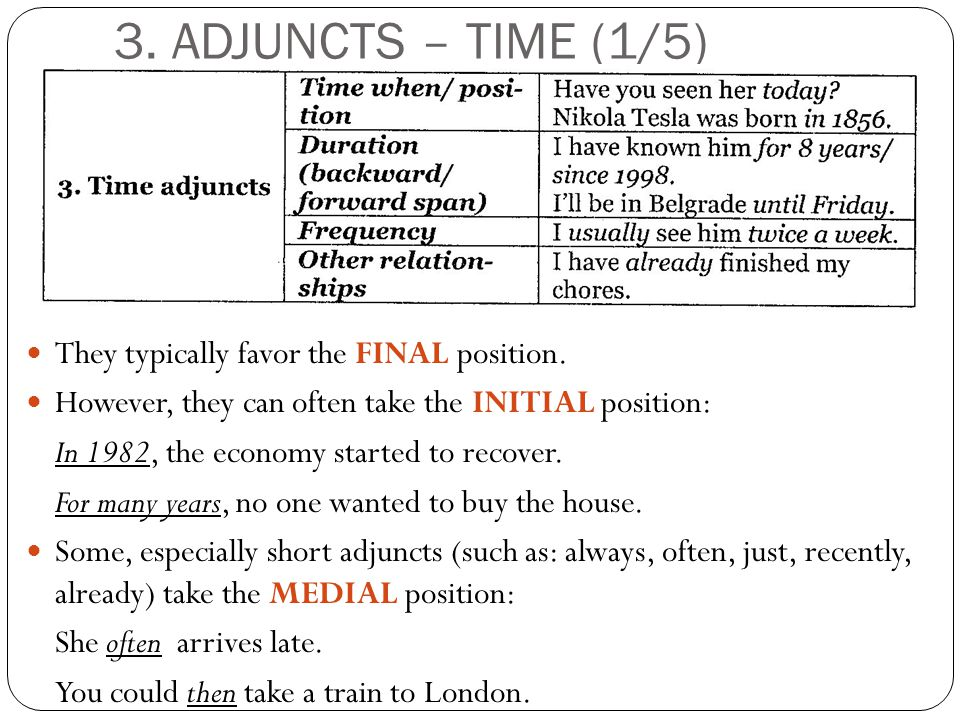 3. ADJUNCTS – TIME (1/5) They typically favor the FINAL position.