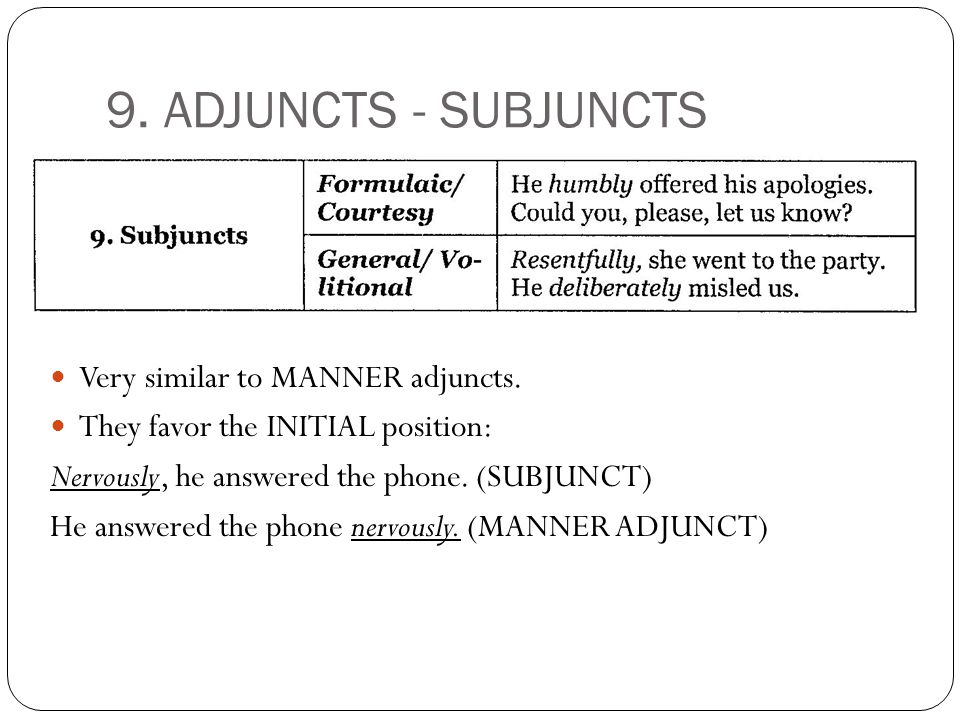 9. ADJUNCTS - SUBJUNCTS Very similar to MANNER adjuncts.