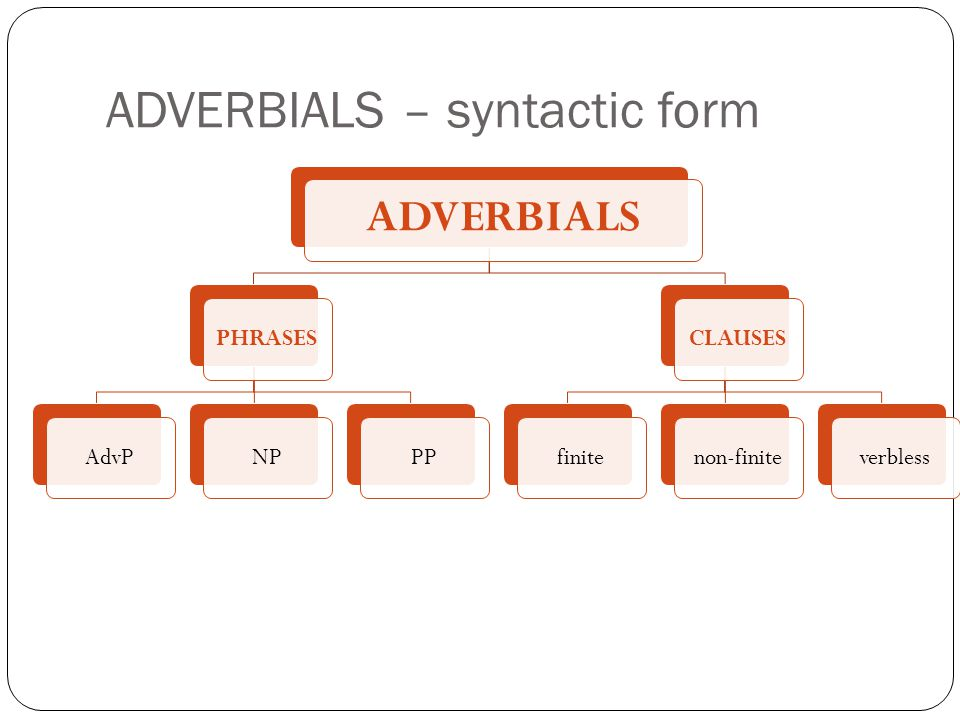ADVERBIALS – syntactic classes There are 7 syntactic tests for showing that adjuncts are more integrated into the structure of the clause, unlike disjuncts or conjuncts:
