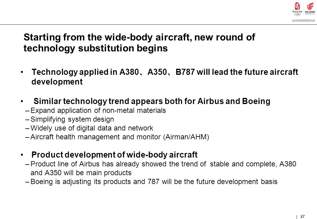 Starting from the wide-body aircraft, new round of technology substitution begins Technology applied in A380 、 A350 、 B787 will lead the future aircra