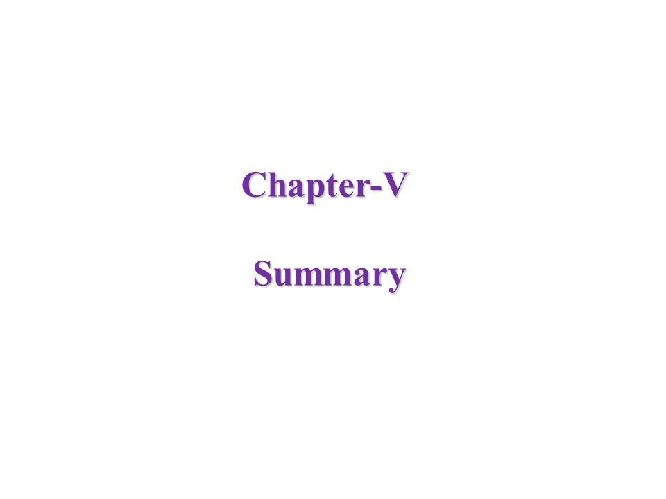 Chapter-V Summary Summary