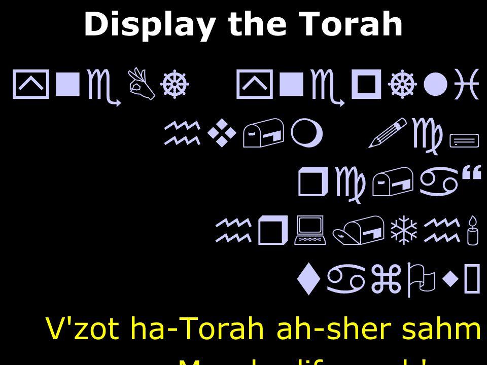 yneB] ynep]li hv,m !c; rc,a} hr:/Th' tazOwÒ V'zot ha-Torah ah-sher sahm Mo-she lif-ney b'ney.hv,m dy'B] y:yÒ yPi l[' laer:cyI Yisrael al pi Adonai b'y
