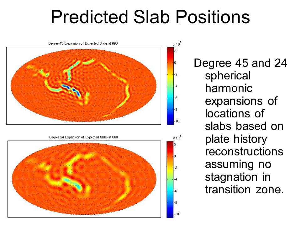Predicted Slab Positions Degree 45 and 24 spherical harmonic expansions of locations of slabs based on plate history reconstructions assuming no stagnation in transition zone.