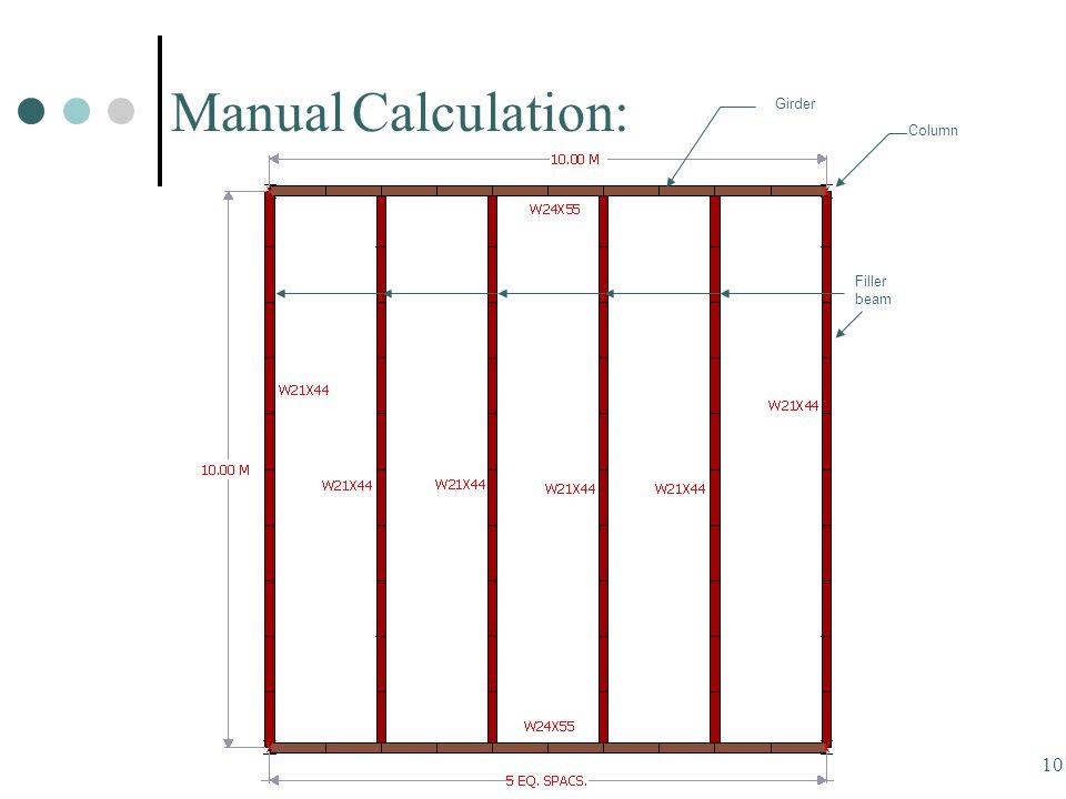 10 Manual Calculation: Filler beam Girder Column