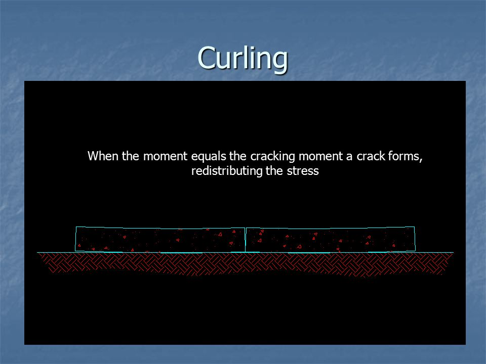 """Curling Differential shrinkage due to drying can result in """"curling"""" of the slab edges, resulting in an induced moment in the slab. When the moment eq"""
