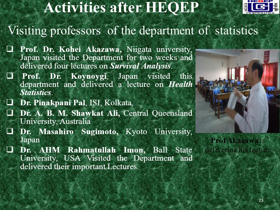 Activities after HEQEP  Prof. Dr.