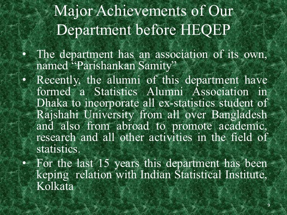 Activities after HEQEP 30 Infrastructural development Picture: Chairman's room of the Department of Statistics, University of Rajshahi