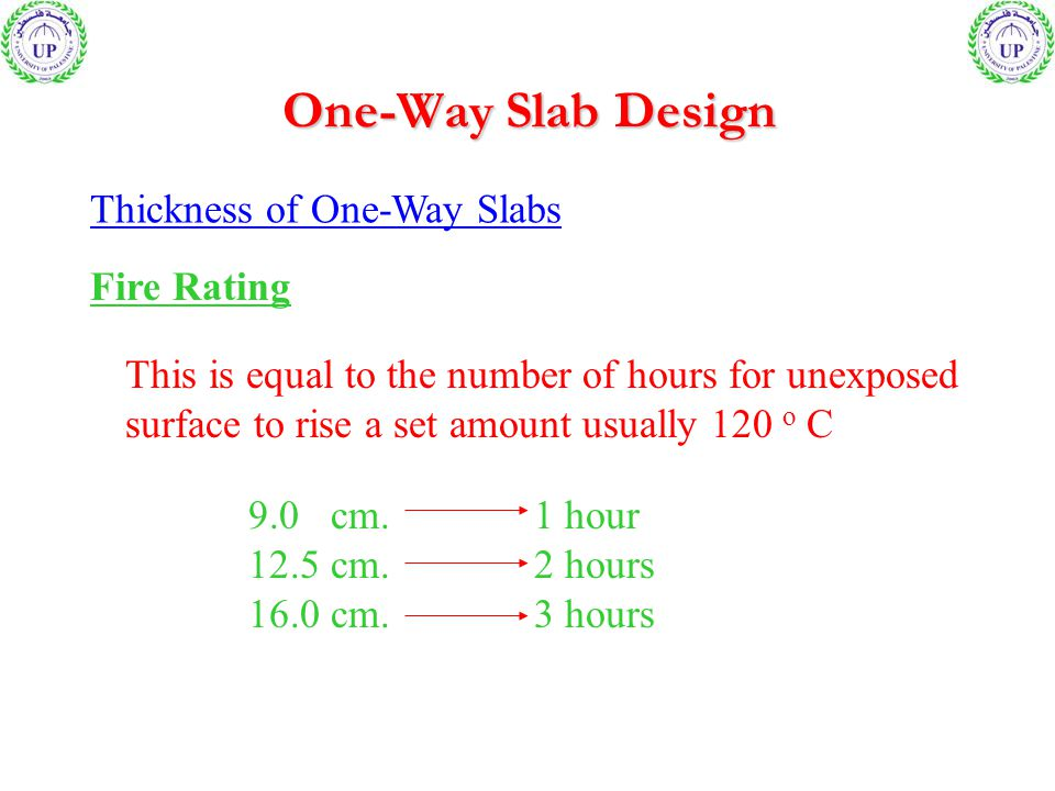 One-Way Slab Design Thickness of One-Way Slabs Fire Rating This is equal to the number of hours for unexposed surface to rise a set amount usually 120