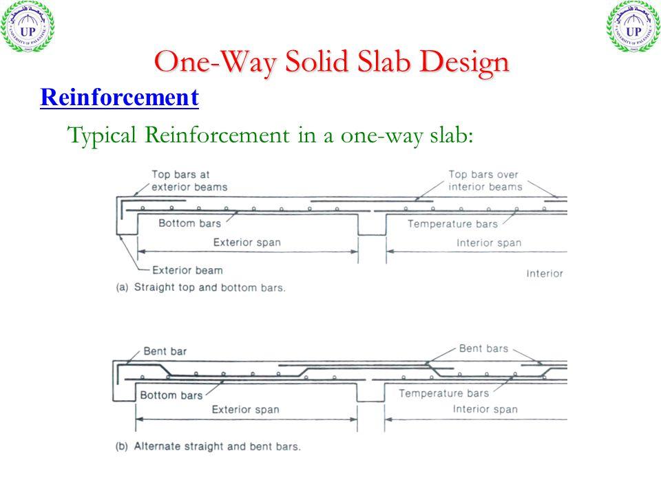 One-Way Solid Slab Design Reinforcement Typical Reinforcement in a one-way slab: