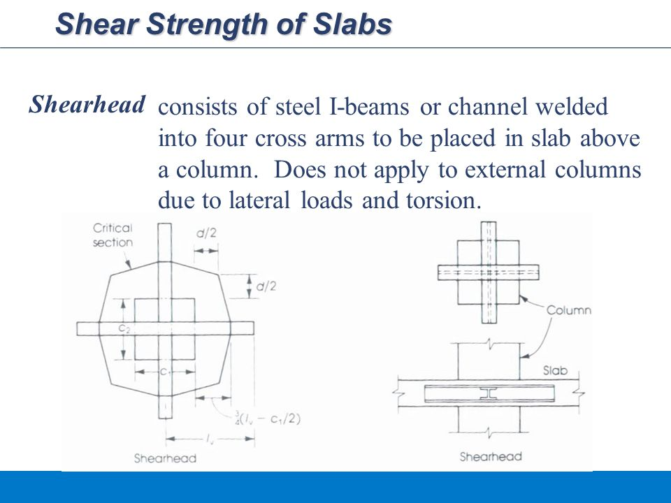 Shear Strength of Slabs Shearhead consists of steel I-beams or channel welded into four cross arms to be placed in slab above a column.