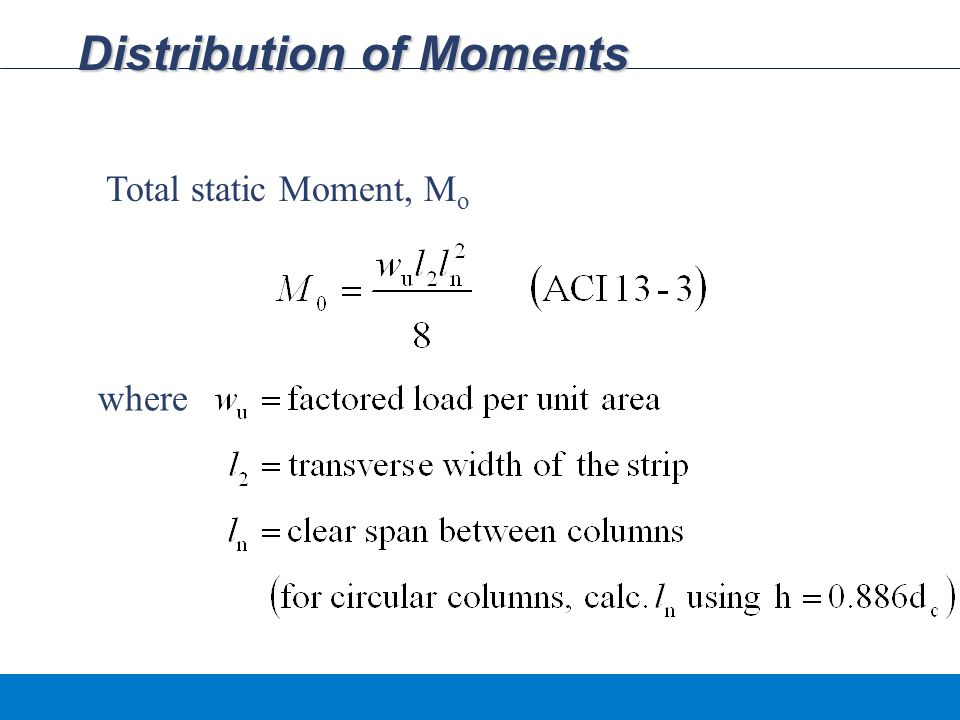 Distribution of Moments Total static Moment, M o where