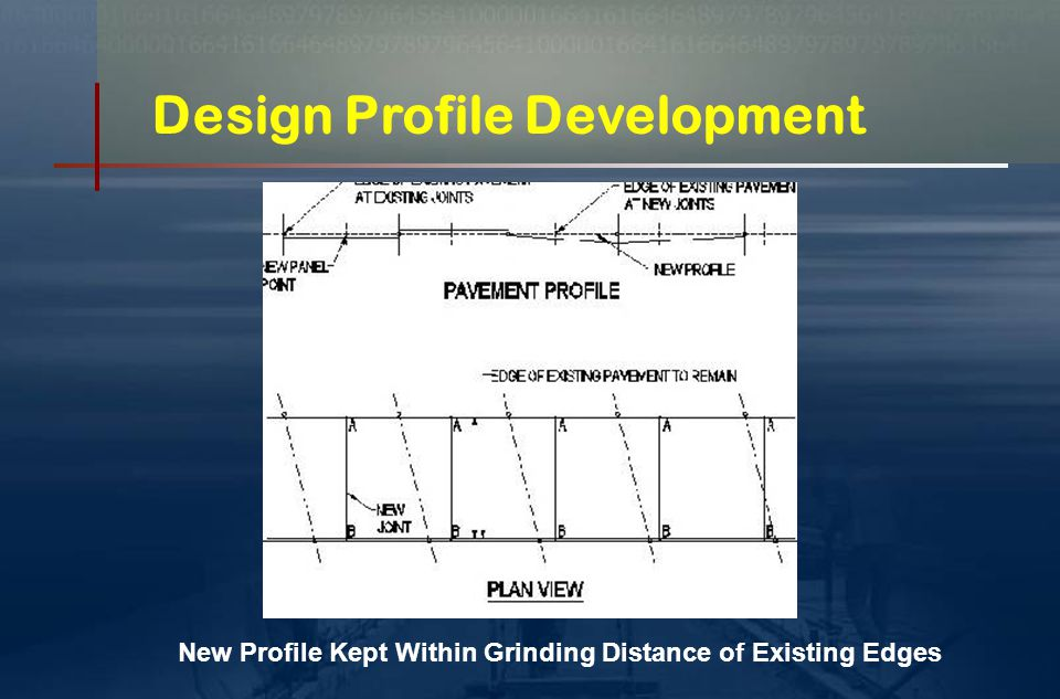 Engineering & Design Contractor collected field survey data (prior to shop drawing development)  Random slab replacement (patches) – widths only of each hole  Continuous installations Collected accurate x , y , z data of existing edges to be matched Fort Miller developed:  Design edge profiles and slab layout drawings  Shop drawings (detailed piece drawings) Drawings completed months in advance of actual installation  To allow time for fabrication