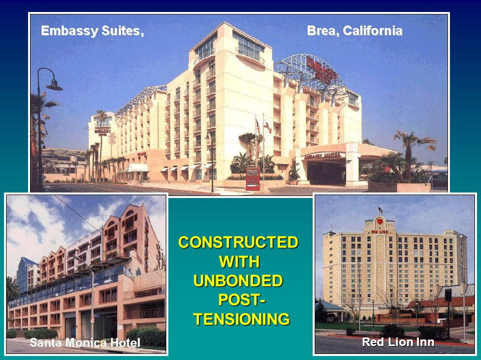 EXAMPLES OF POST-TENSIONING PARKING STRUCTURES La Palma Center, La Palma, California Xerox Center, Santa Ana, California Lakeshore Tower, Irvine, California California