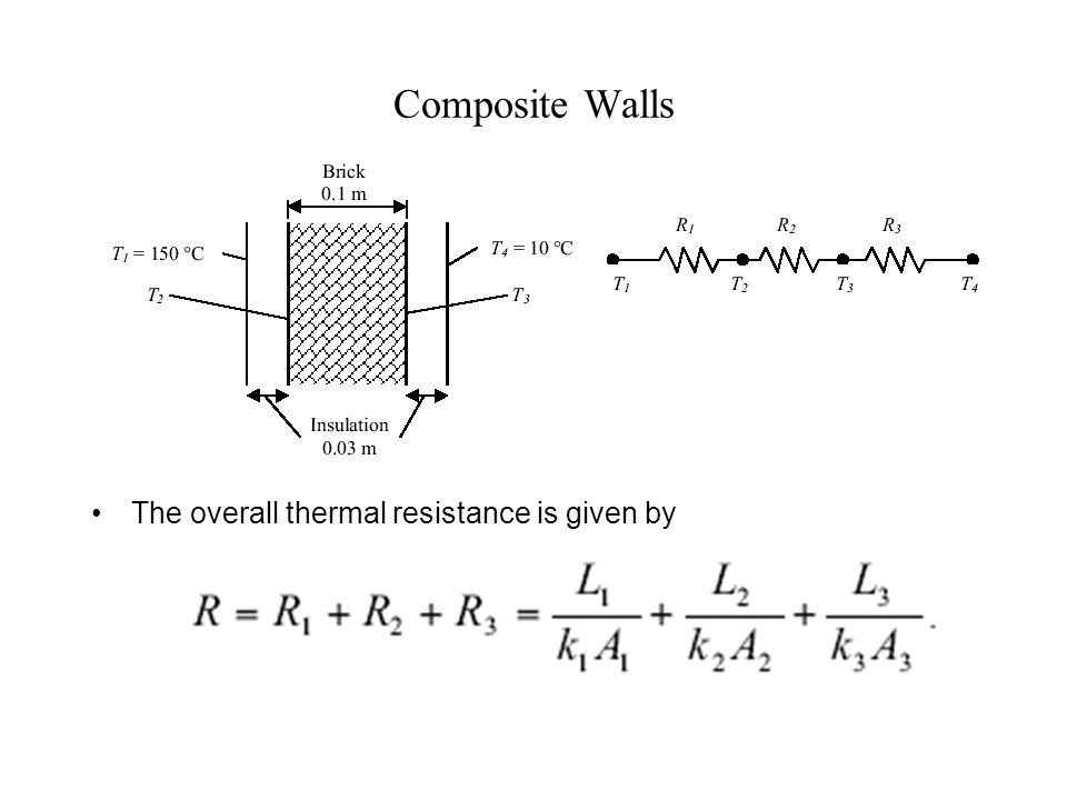Heat transfer for a wall with dissimilar materials For this situation, the total heat flux Q is made up of the heat flux in the two parallel paths: Q = Q 1 + Q 2  with the total resistance given by: Heat Transfer Circuit