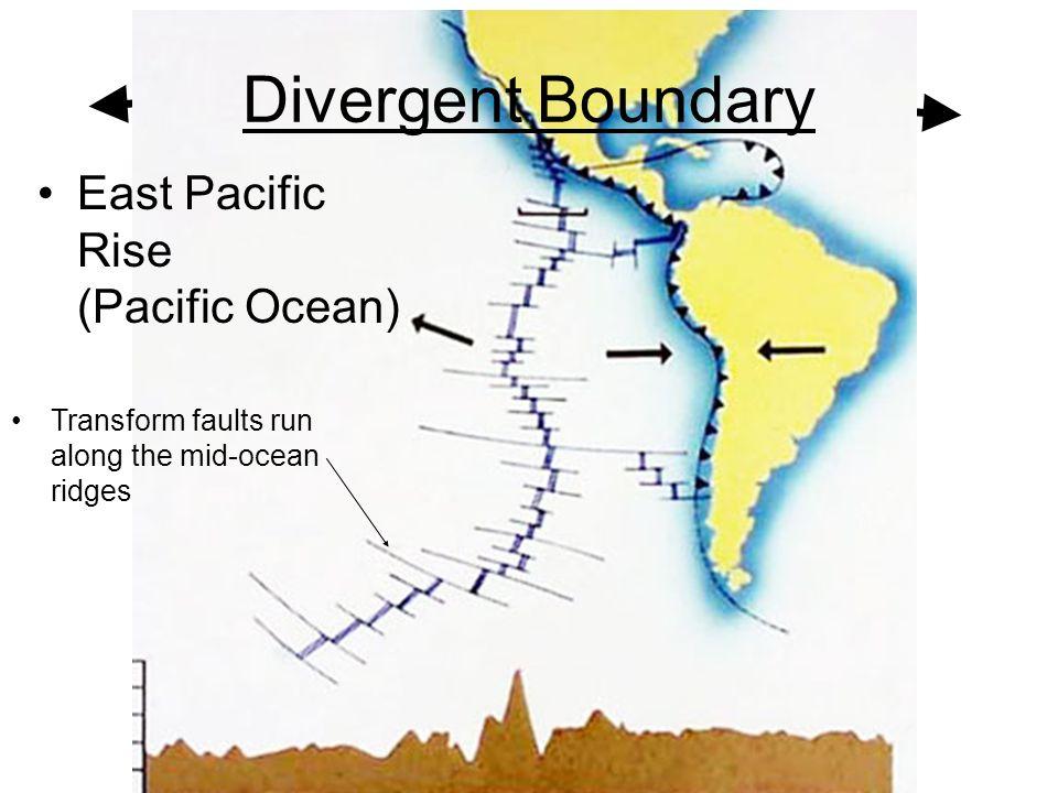 East Pacific Rise (Pacific Ocean) Divergent Boundary Transform faults run along the mid-ocean ridges
