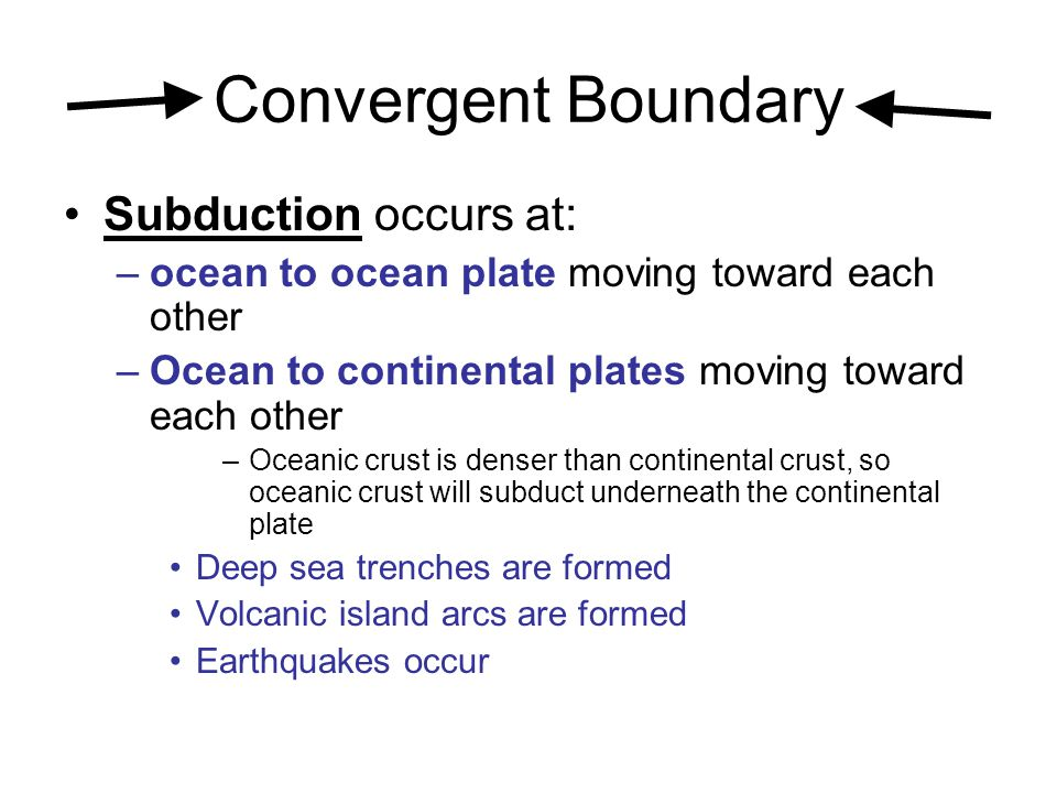 Convergent Boundary Subduction occurs at: –ocean to ocean plate moving toward each other –Ocean to continental plates moving toward each other –Oceani
