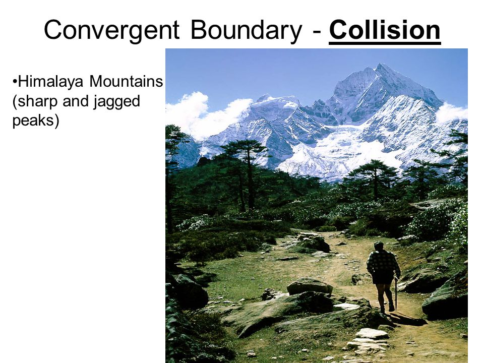 Convergent Boundary - Collision Himalaya Mountains (sharp and jagged peaks)