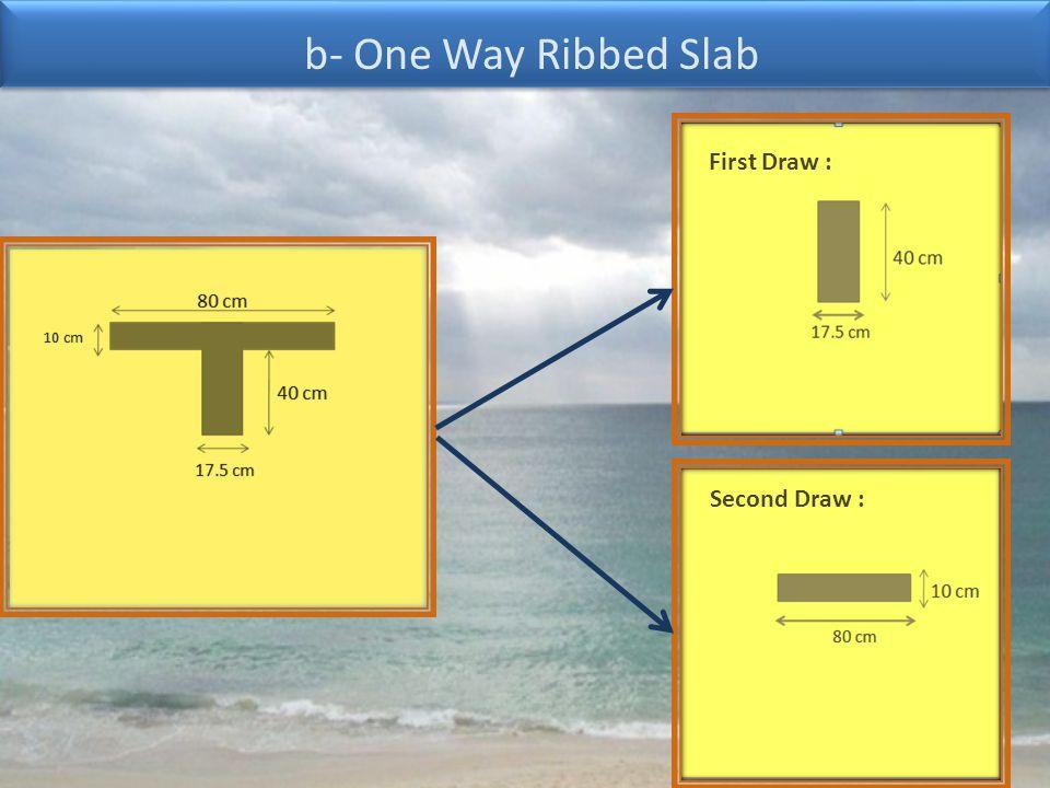 b- One Way Ribbed Slab First Draw : Second Draw :