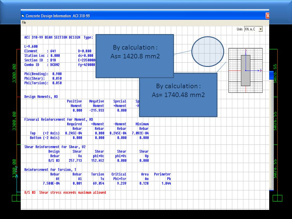 ReInforcment By calculation : As= 1740.48 mm2 By calculation : As= 1420.8 mm2
