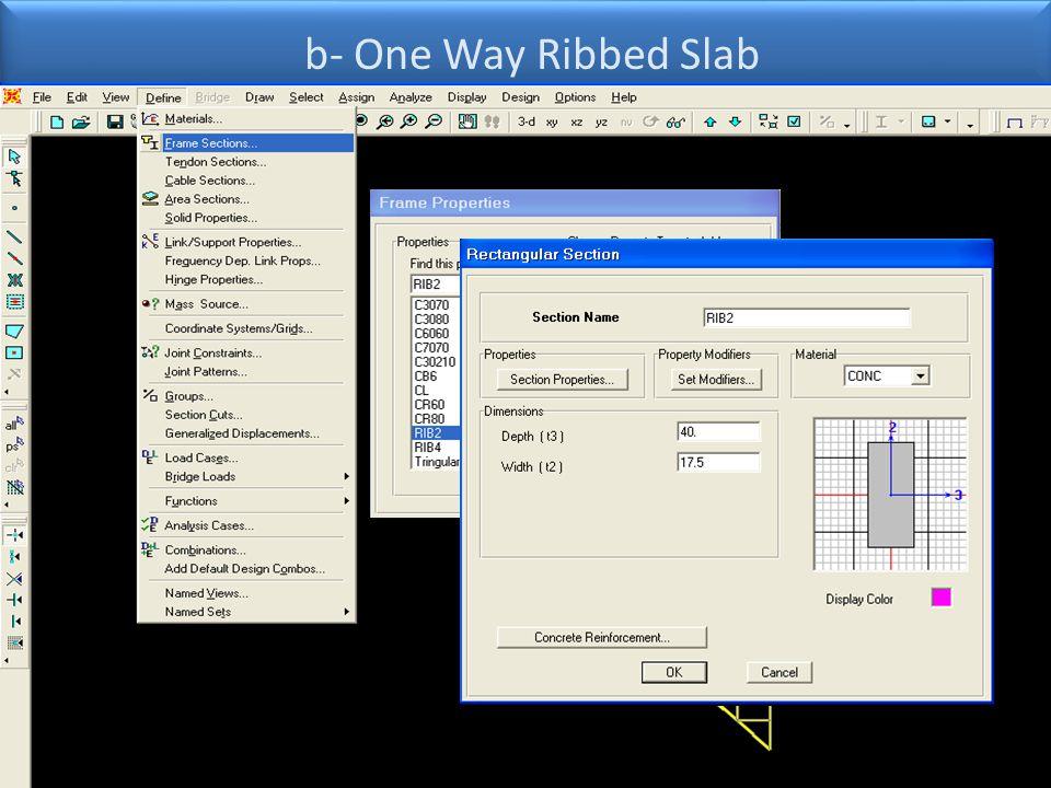 b- One Way Ribbed Slab