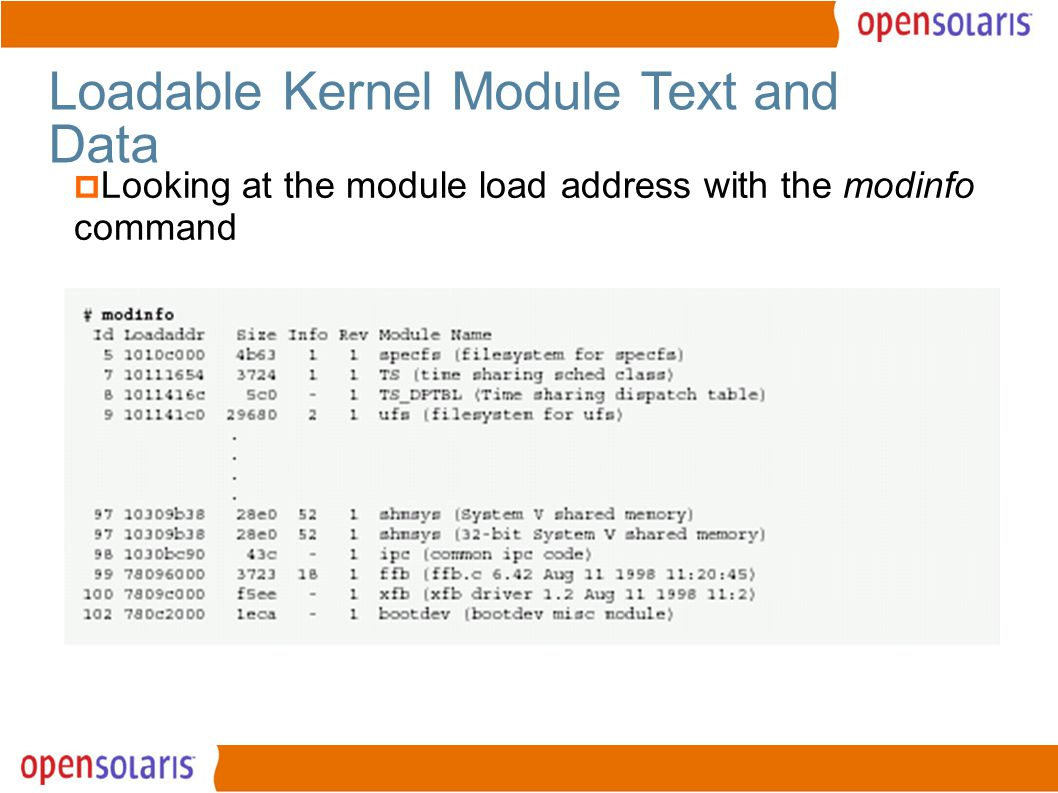10 Loadable Kernel Module Text and Data  Looking at the module load address with the modinfo command