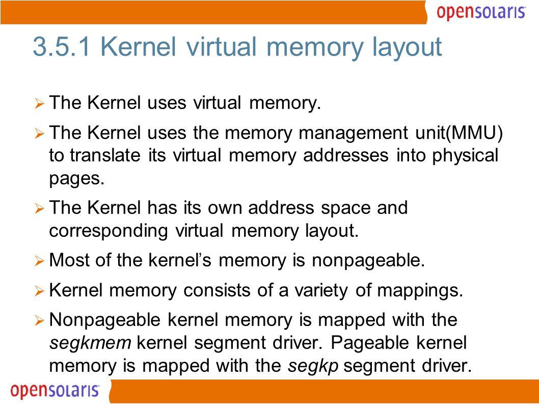 3 3.5.1 Kernel virtual memory layout  The Kernel uses virtual memory.