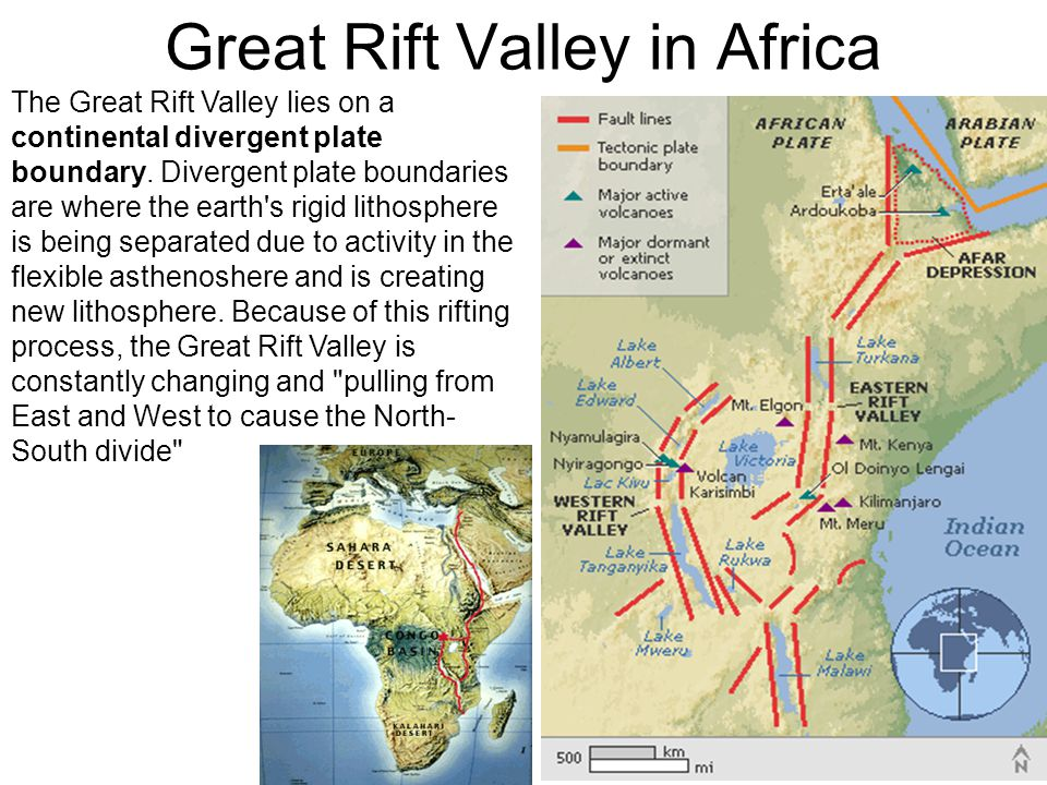 Great Rift Valley in Africa The Great Rift Valley lies on a continental divergent plate boundary.