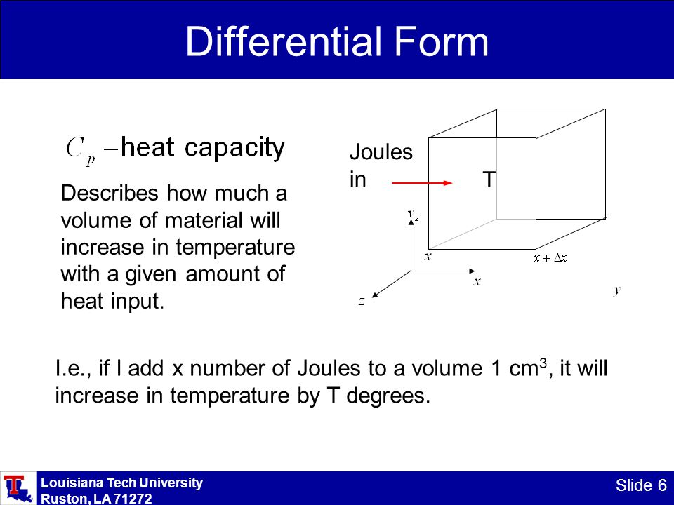 Louisiana Tech University Ruston, LA 71272 Slide 6 Differential Form Describes how much a volume of material will increase in temperature with a given amount of heat input.