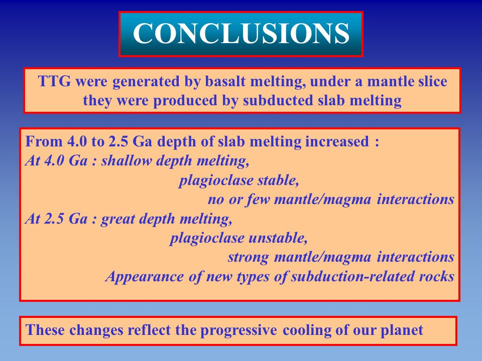 CONCLUSIONS TTG were generated by basalt melting, under a mantle slice they were produced by subducted slab melting From 4.0 to 2.5 Ga depth of slab m