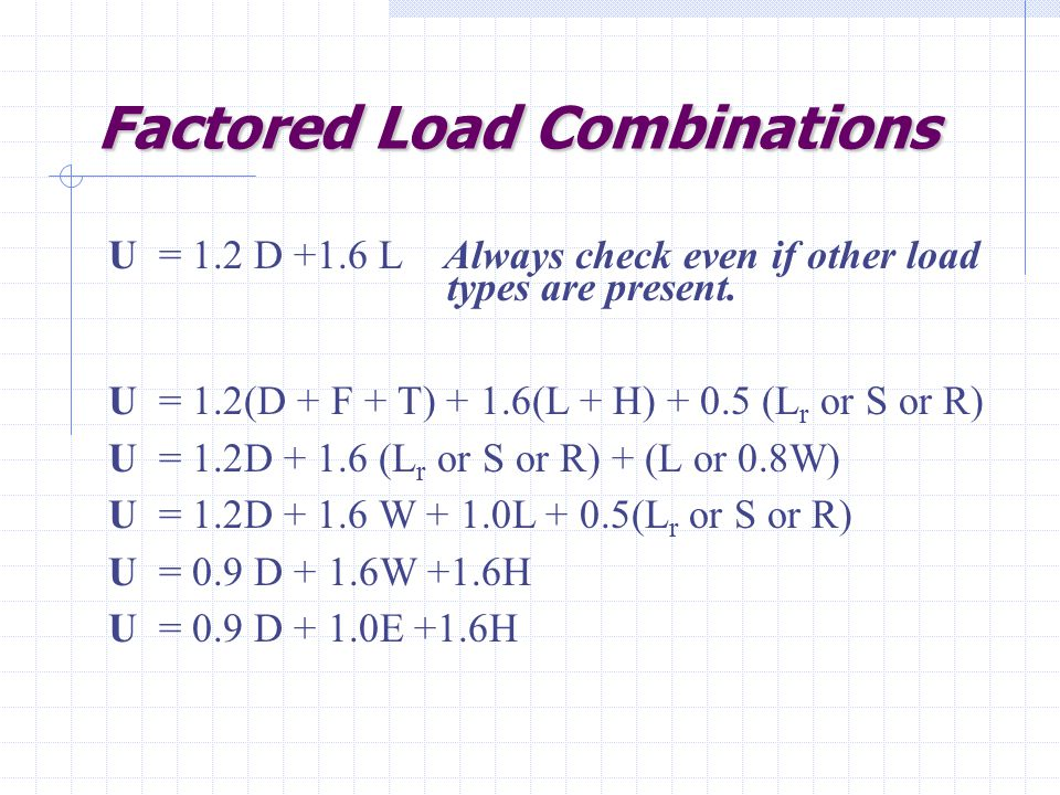 Factored Load Combinations Factored Load Combinations U = 1.2 D +1.6 L Always check even if other load types are present.