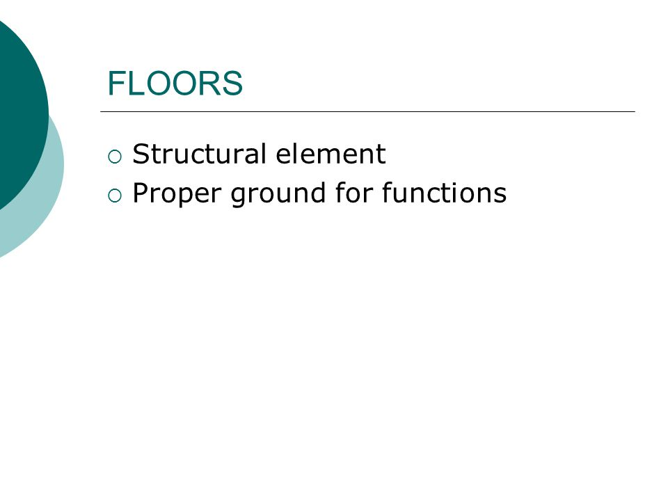  Structural element  Proper ground for functions