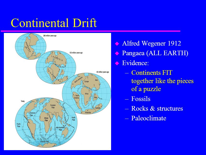 Continental Drift u Alfred Wegener 1912 u Pangaea (ALL EARTH) u Evidence: –Continents FIT together like the pieces of a puzzle –Fossils –Rocks & structures –Paleoclimate