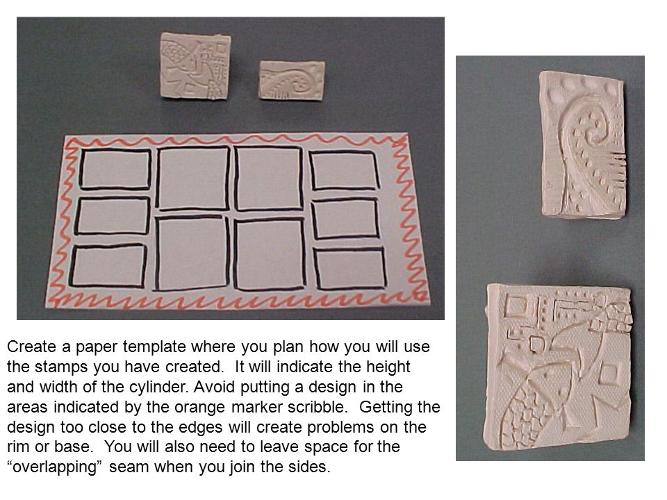 Create a paper template where you plan how you will use the stamps you have created.