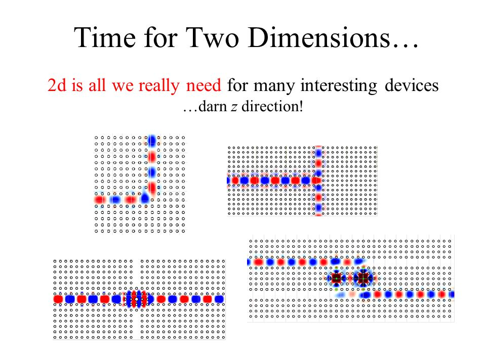 Time for Two Dimensions… 2d is all we really need for many interesting devices …darn z direction!