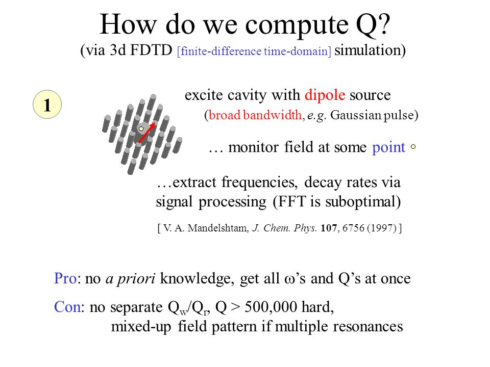 How do we compute Q. 1 excite cavity with dipole source (broad bandwidth, e.g.
